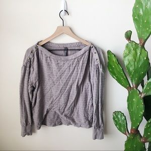 Anthropologie Grey Long Sleeve Buttoned Top